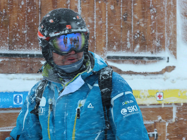 Intrepid skier in the snow