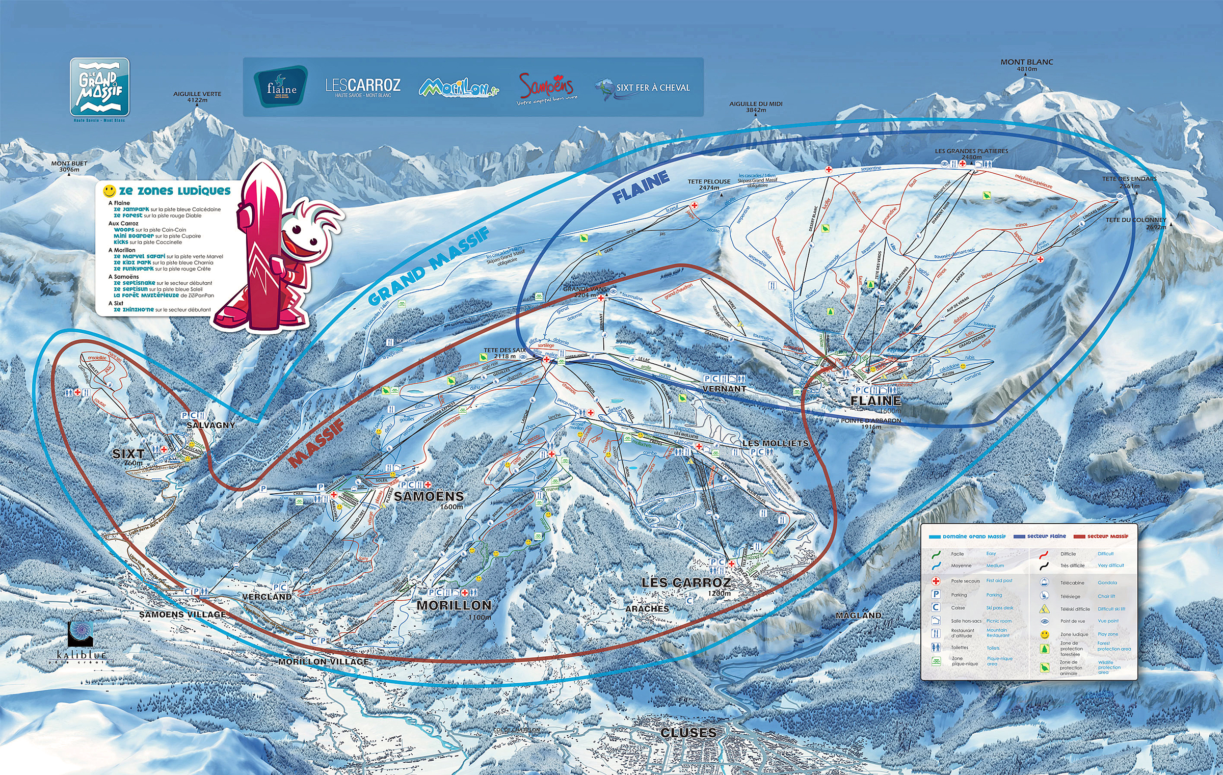 Samo ns flaine grand massif piste map ski area info for Piste de ski interieur