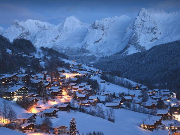 France - ski resort by dusk