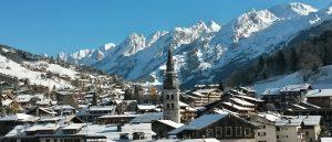 Snowy ski resort village of La CLusaz