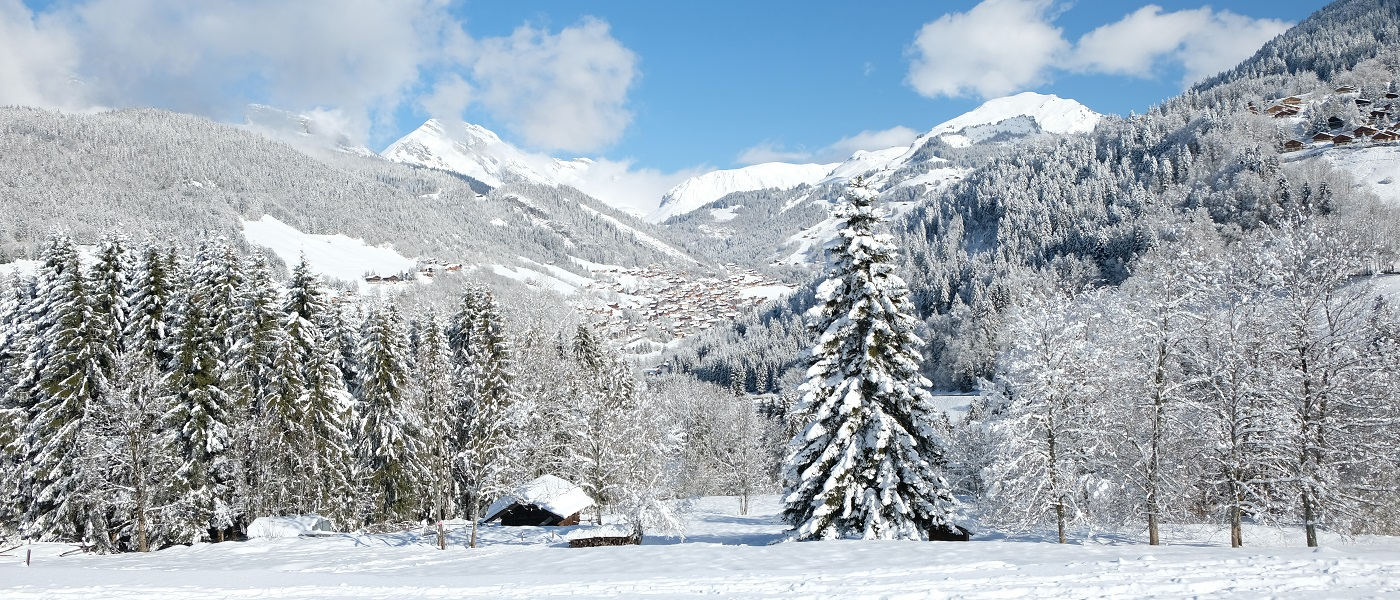 Snowy mountain scene across Le Grand Bornand village