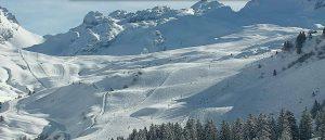 Snowy mountain ski slopes
