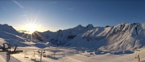 Snowy mountain ski resort
